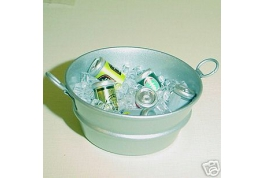 Tub Of Ice Cubes And Beer Cans
