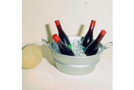 Tub Of Ice Cubes And Wine Bottles