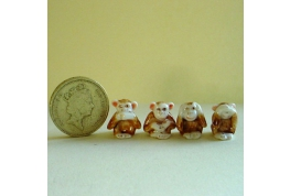 Set Of 4 China Monkey Ornaments