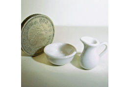 24th Scale White China Jug & Bowl