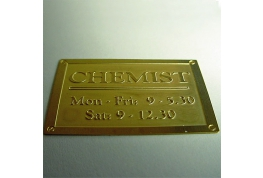 Brass Chemist Sign