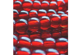 25 x Ruby Red Round Glass Beads