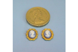 Pair Of 24th Scale Brass Framed Cameo Pictures