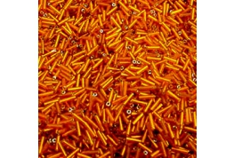 Orange Glass Bugle Beads