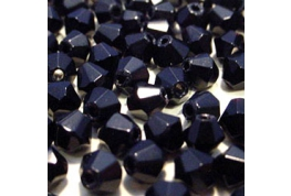25 x Black Crystal Bicone Beads