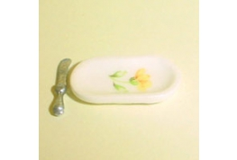 Butter Plate & Metal Knife Peace Pattern