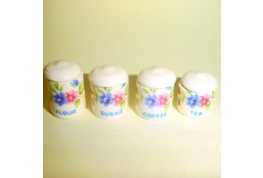 Set 4 China Canisters Sprite Pattern