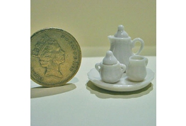 6 Piece 24th Scale White China Coffee Set