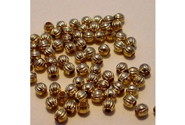 10 x Fluted Gold plated Metal Beads 5mm