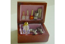Wooden Vanity Box Complete with selection of Cosmetics