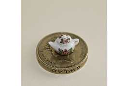 Tiny 1:24 China  Tea Pot Brown Floral
