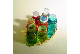 1:24 Scale Tray Of 6 Glass Oils Bottles