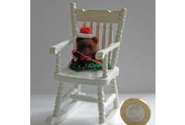 White Rocking Chair With Christmas Bear