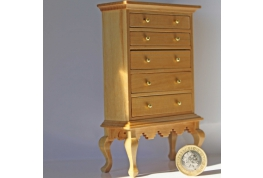 1:12 Scale Tall Pine Chest Of Drawers