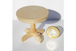 1:12 Scale Round Bare Wood Table