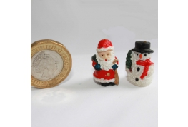 1:12 Scale Dollhouse Snowman And Santa