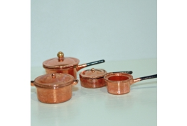 1:12 Scale Set Of Pots And Pans available in black, silver or copper effect