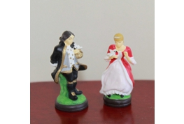 1:12 Pair Of Resin Dresden Style Figurines