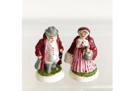 Pair Of Hand Decorated Country Folk Figurines