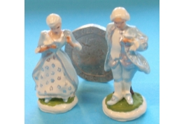 Pair Of Hand Decorated Dresden Figurines