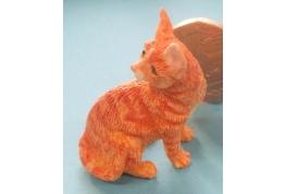 Dolls House Orange Cat Sitting Up Looking Back Miniature 1:12 Scale Pet Animal
