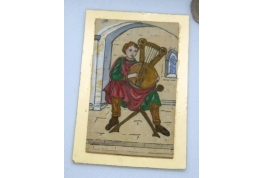 Medieval Musician With Lap Harp