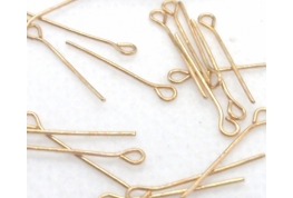 10 x Gold Plated Eye Pins - 15mm