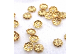 5 x Tiny Gold Bead Cap with hole - 3mm dia
