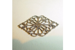 Antique Silver Plate Filigree Diamond.