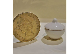 1:12 Scale White Pudding Bowl And Lid