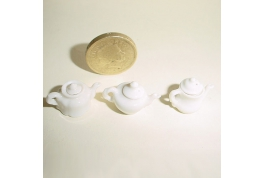 Set Of Three 12th Scale China Fancy Teapots