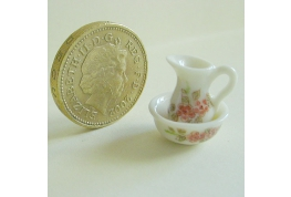 1:24 Scale Floral China Jug & Bowl