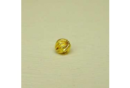 Gold Plated Round Flutted Bead.