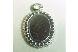 Silver Colour Oval Drop With Ring