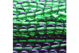 25 x Emerald Green Round Glass Beads