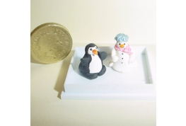 Penguin and Snowman Ornaments.