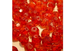 25 x Red Crystal Round Facets