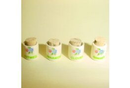 Set 4 China Spice Jars Country English Pattern