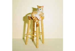 Ginger Cat On A  pine Stool