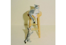 2 Grey Tabby Cats With Pine Stool